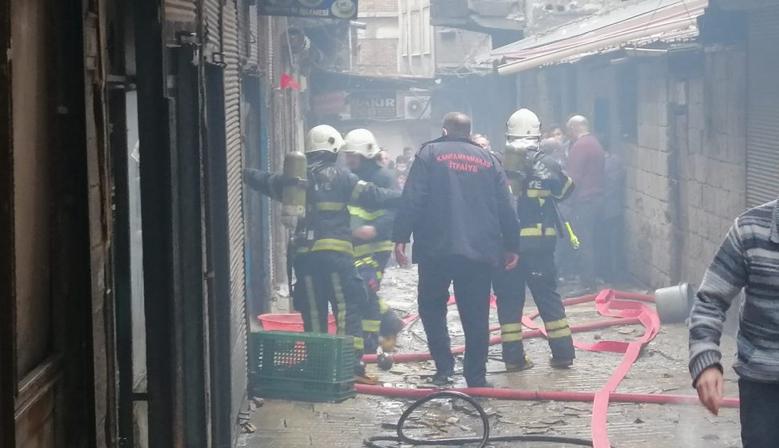 Kahramanmaraş'ta Tarihi Bakırcılar Çarşısı'nda yangın