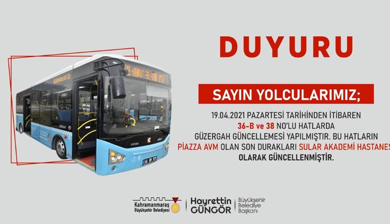 Kahramanmaraş'ta İki Hatta Güzergah Güncellendi