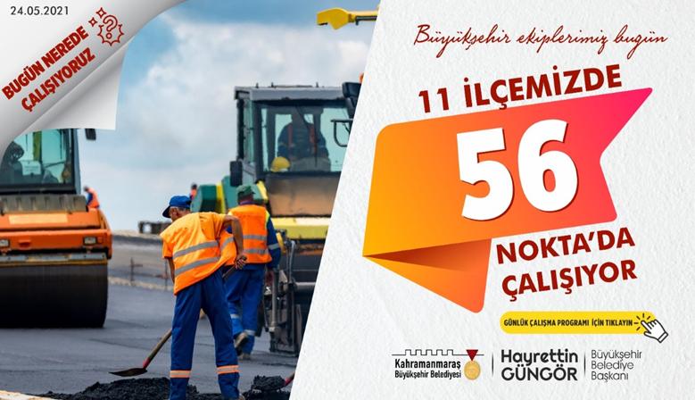 Kahramanmara'ta 56 Noktada Çalışmalar sürüyor