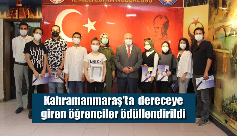 Kahramanmaraş'ta  dereceye giren öğrenciler ödüllendirildi