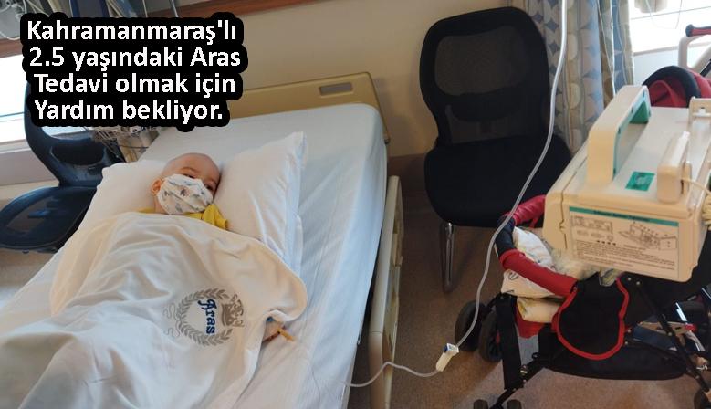 Kahramanmaraş'ta yaklaşık 1.5 ay önce lösemi teşhisi koyulan 2.5 yaşındaki Aras, tedavi olmak için yardım bekliyor.