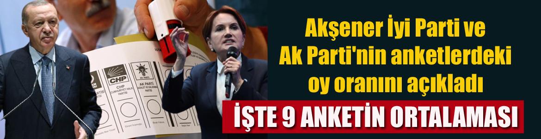 Akşener partisinin ve Ak Parti'nin anketlerdeki oy oranını açıkladı